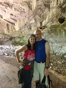 In a cave opening on Horn Hollow trail