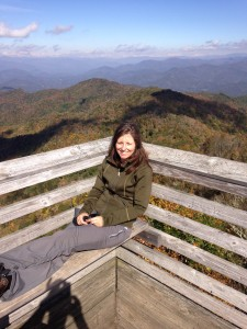 Posing in the fire tower on Wesser Bald