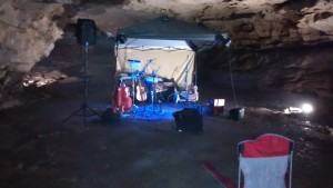 Band stand inside a cave!